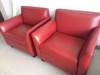 RED SOFAS X2